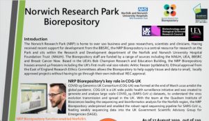 Thumbnail image of Norwich Research Park Biorepository's poster entry to the UK Biobank of the Year Award