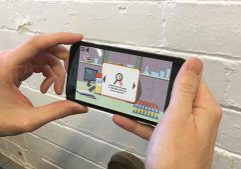 Biobanking game shown on phone