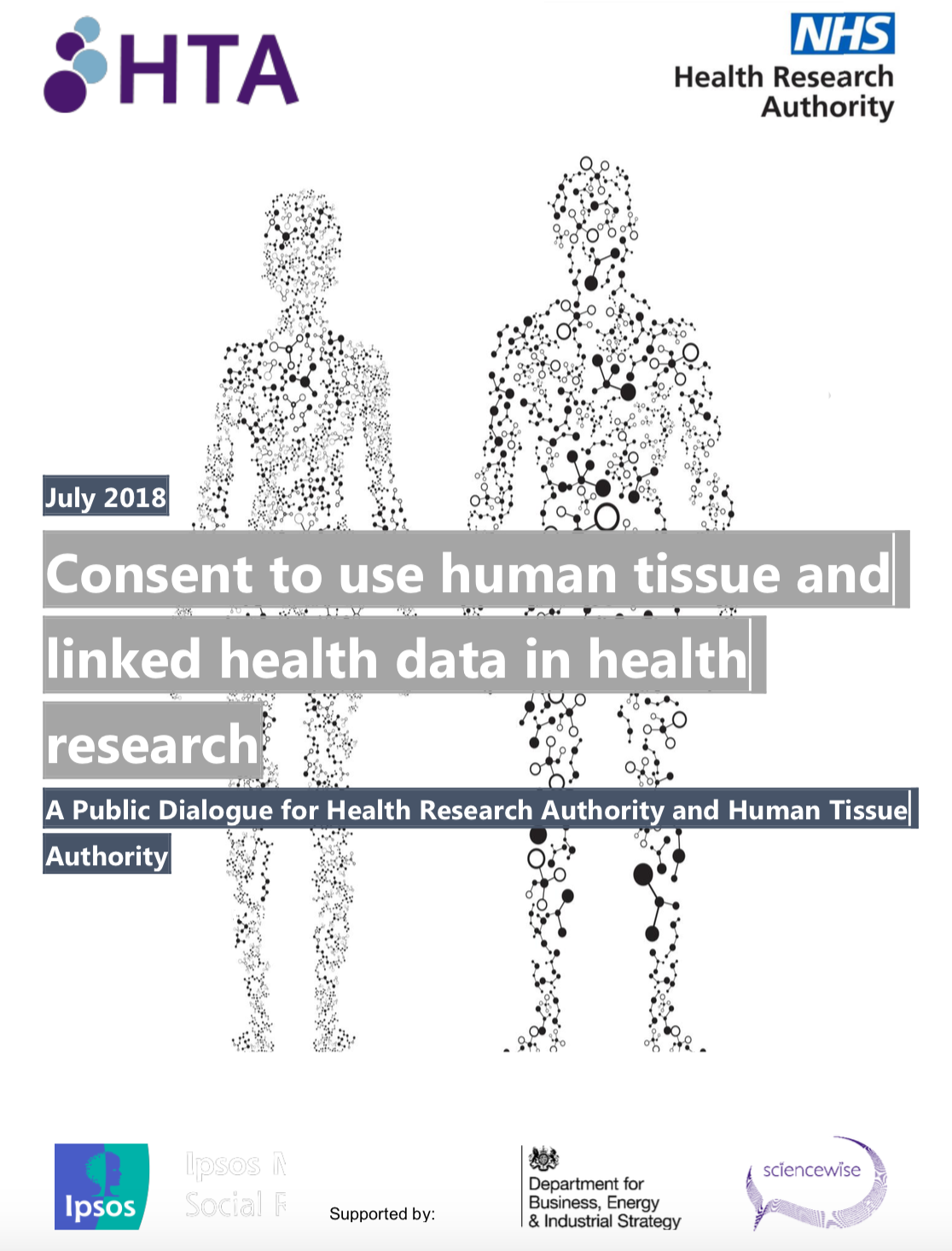 The image features the report title with two human silhouettes made up of molecules in the background.